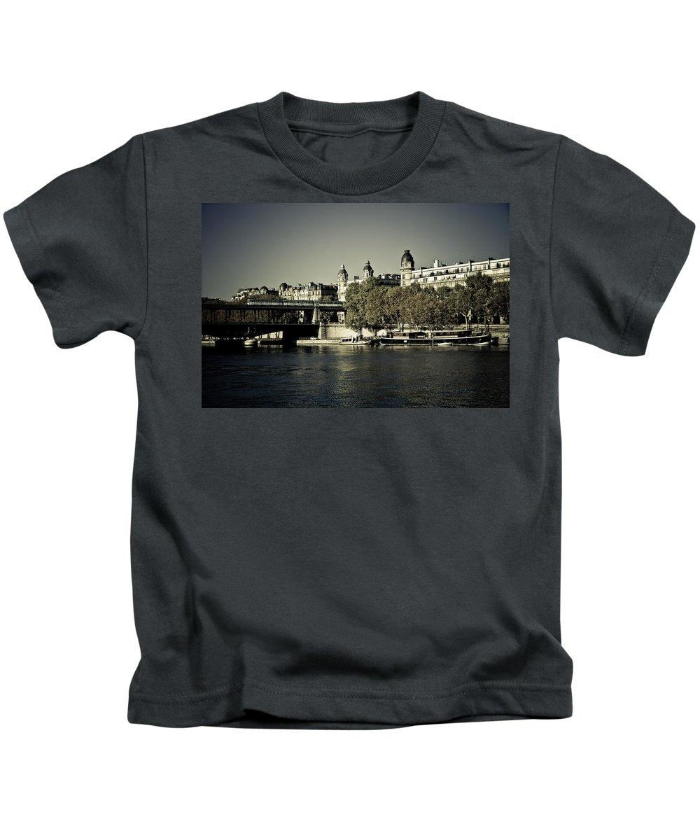 City Kids T-Shirt featuring the photograph La Seine I by Olivier De Rycke
