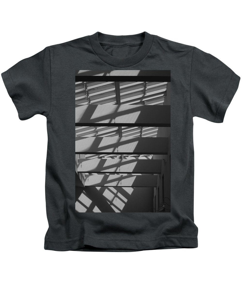 Black And White Kids T-Shirt featuring the photograph Ladders In The Sky by Rob Hans