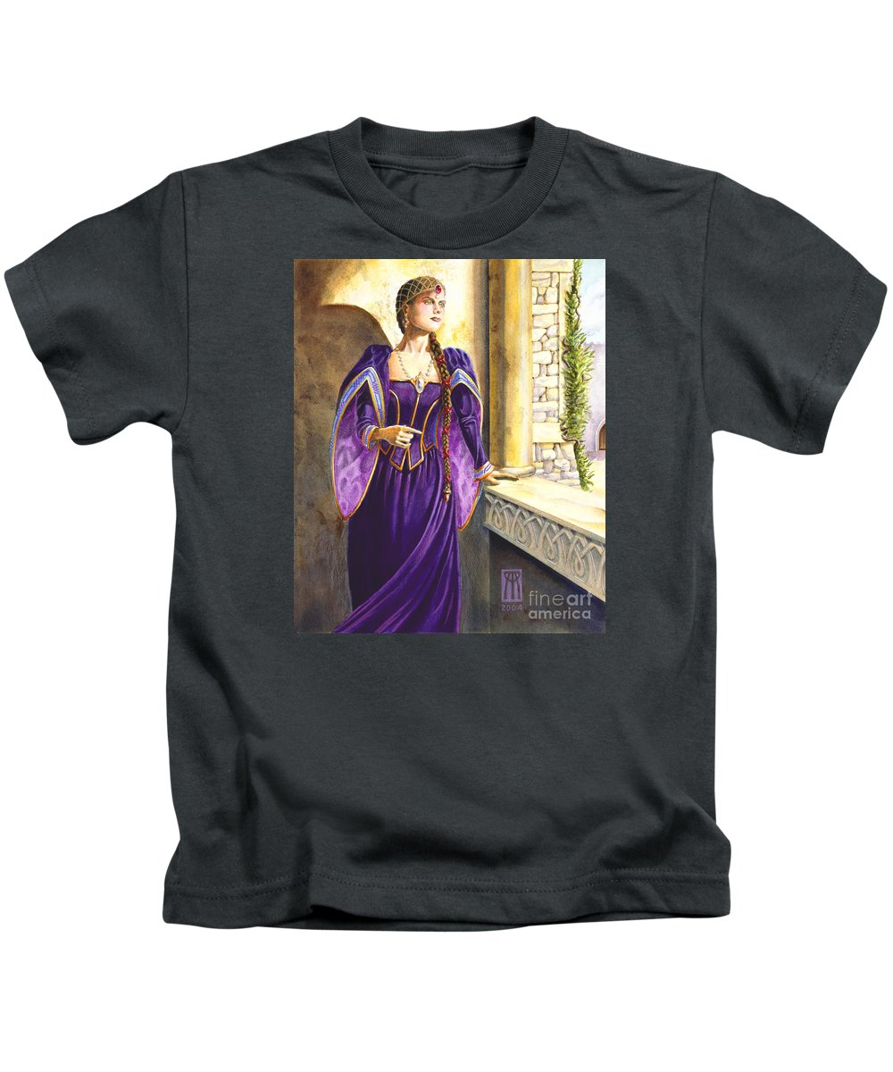 Camelot Kids T-Shirt featuring the painting Lady Ettard by Melissa A Benson
