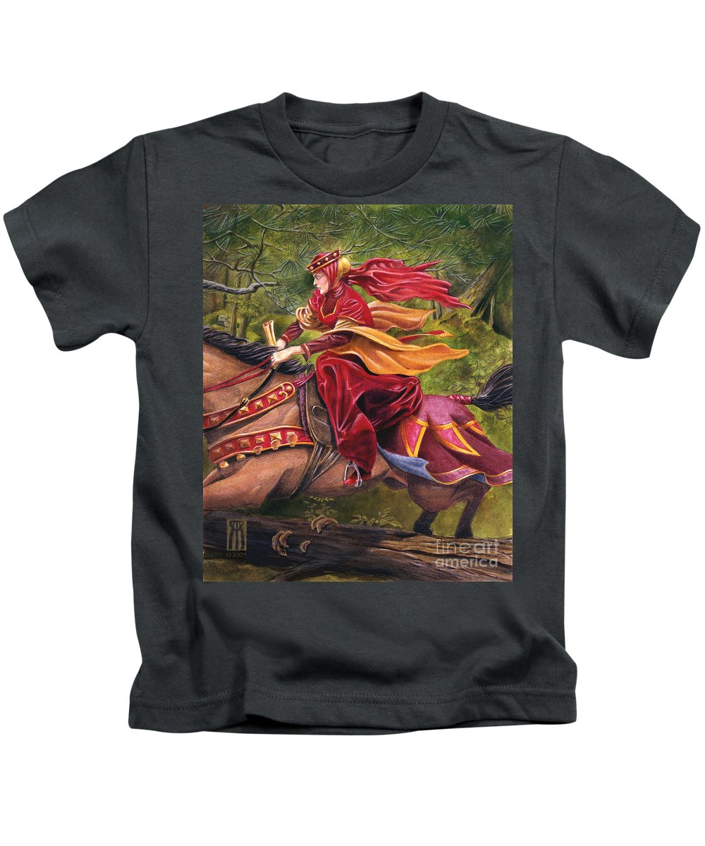 Camelot Kids T-Shirt featuring the painting Lady Lunete by Melissa A Benson