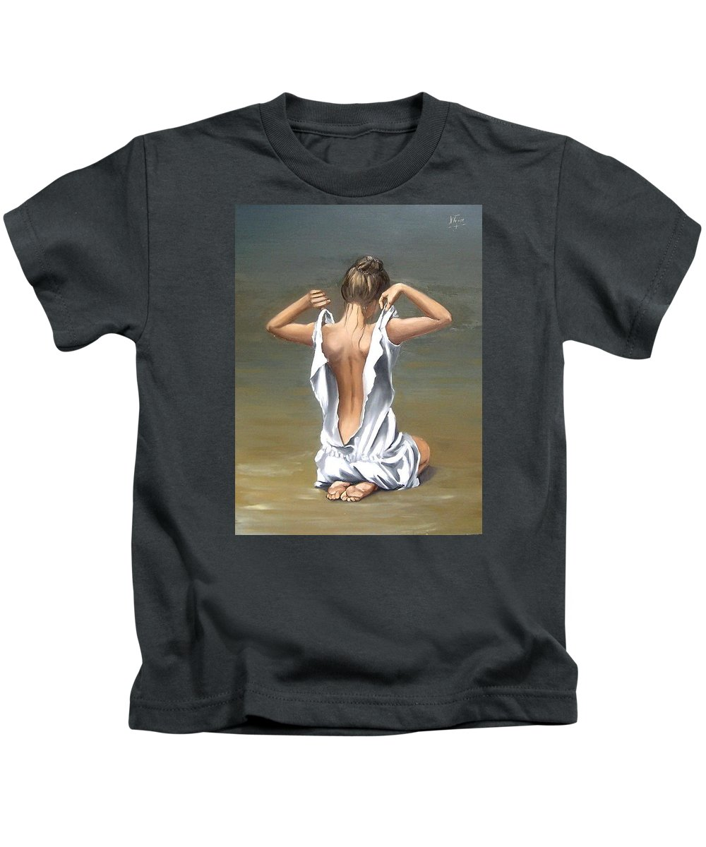 Lady Girl Woman Figurative Figure Nude Portrait Fine Art Female Kids T-Shirt featuring the painting Lady by Natalia Tejera