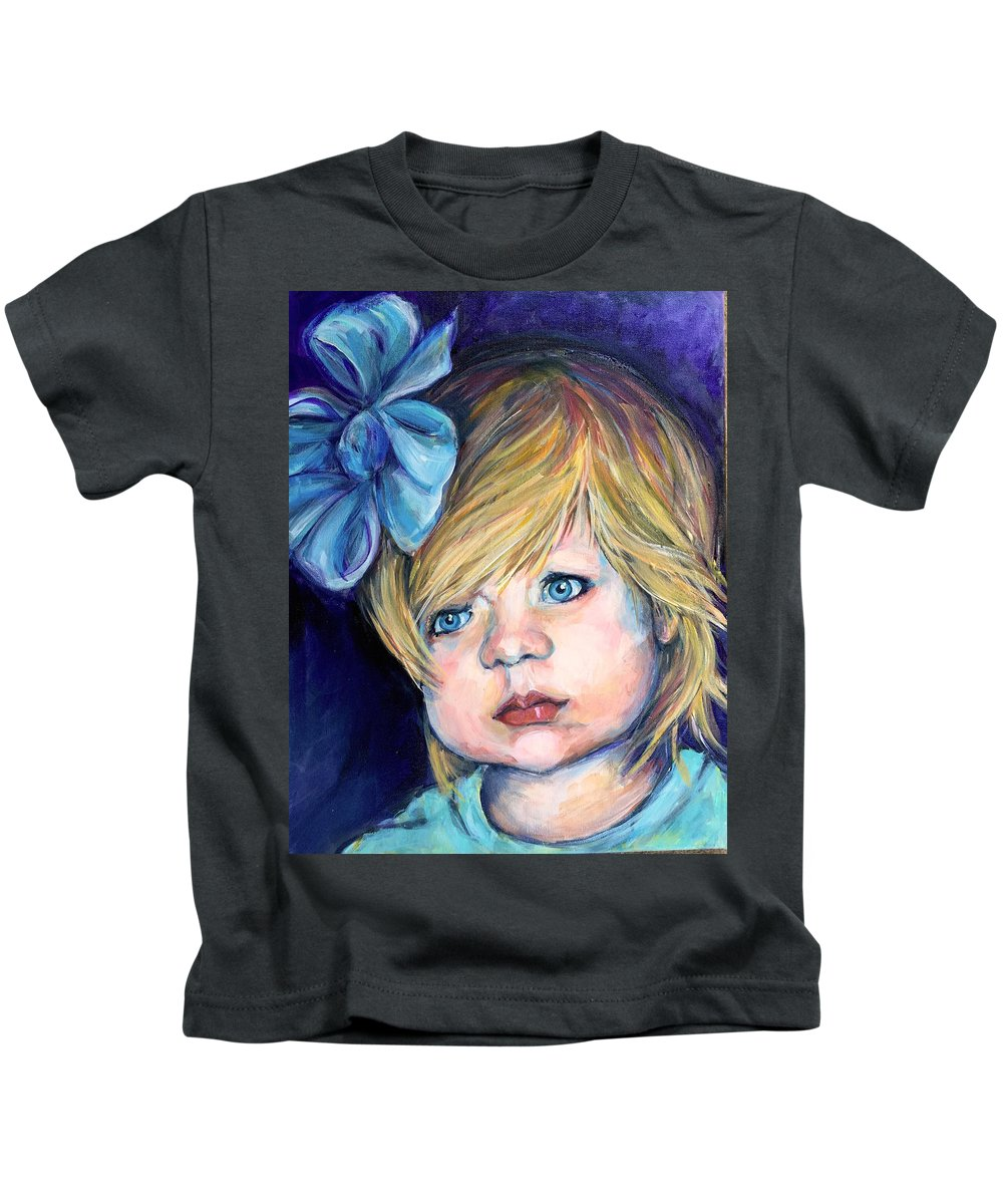 Girl Kids T-Shirt featuring the painting Laityn by Dottie Mabry