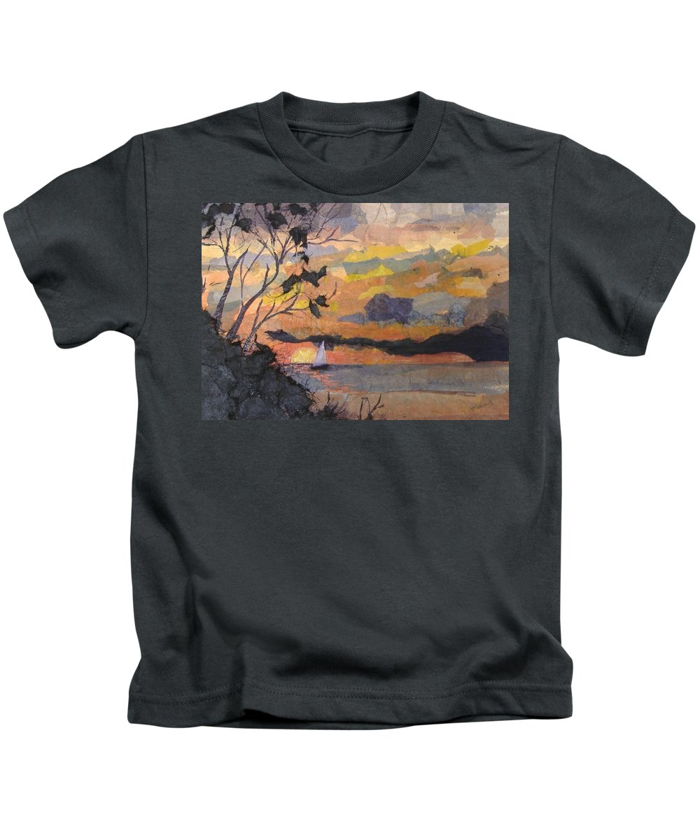Seascape Kids T-Shirt featuring the mixed media Lake Erie Sunset by Pat Snook