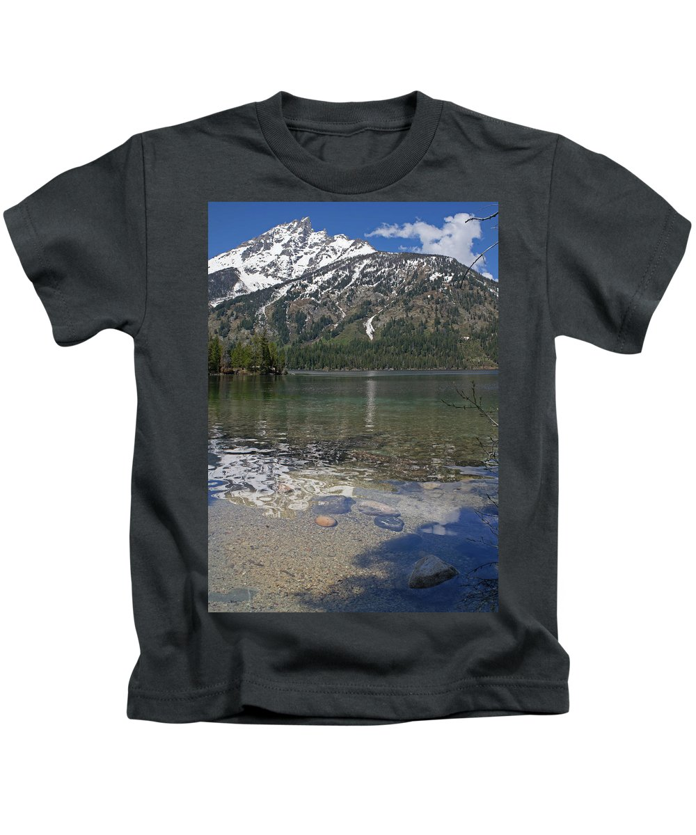 Grand Tetons Kids T-Shirt featuring the photograph Lake Jenny Grand Tetons by Heather Coen