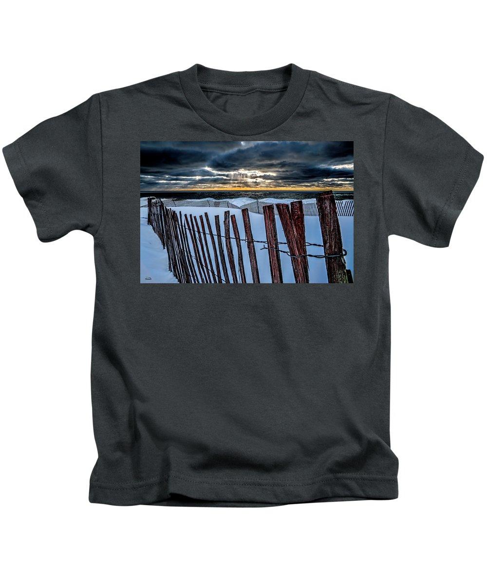 Snow Kids T-Shirt featuring the photograph Lake Mi Sunset 15 by Tim Bonnette