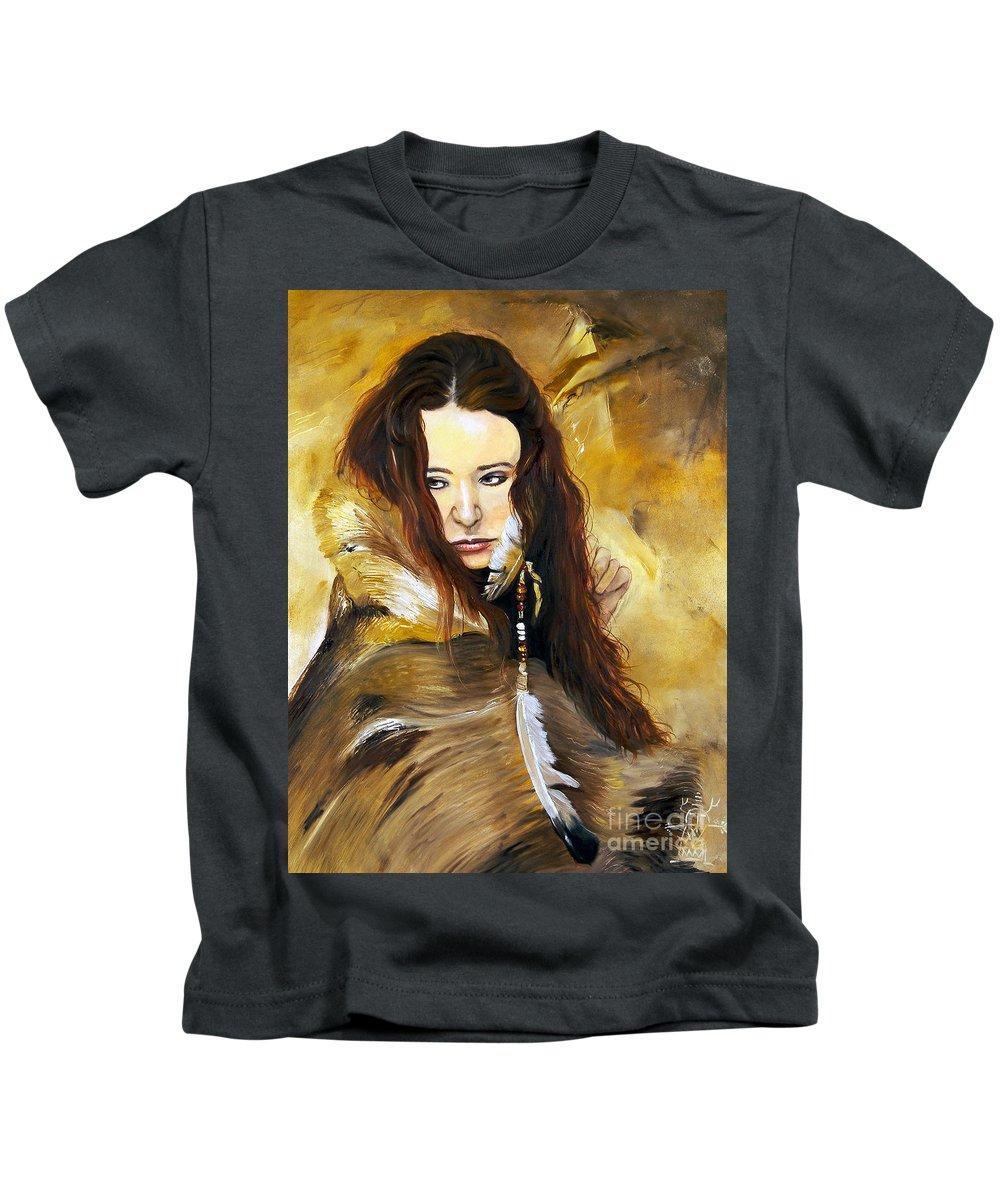 Southwest Art Kids T-Shirt featuring the painting Lament by J W Baker