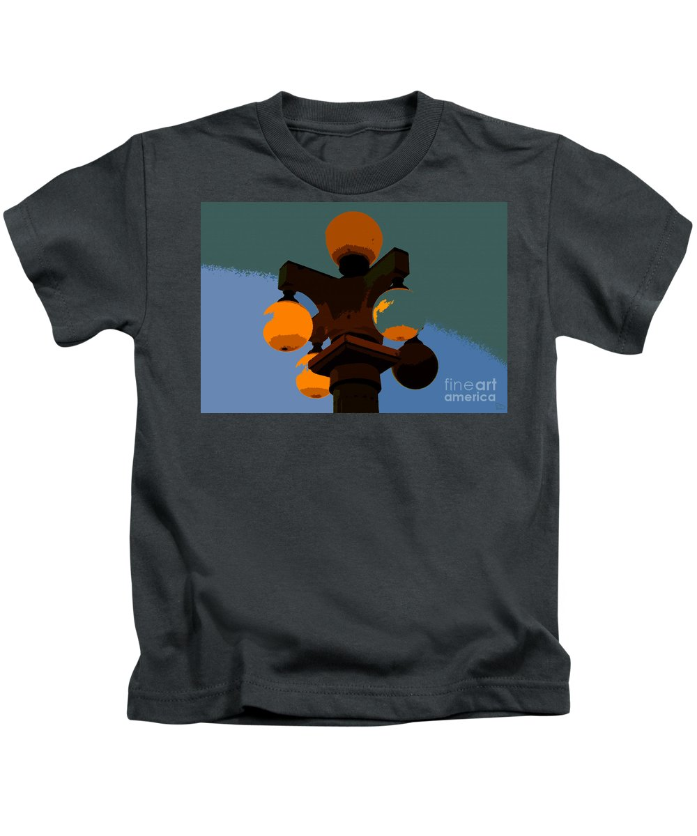 Lamppost Kids T-Shirt featuring the painting Lamppost by David Lee Thompson