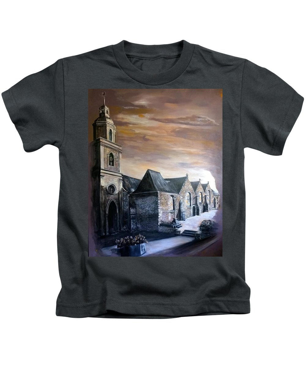 Church Kids T-Shirt featuring the painting Lanrelas Church by Silk Alchemy