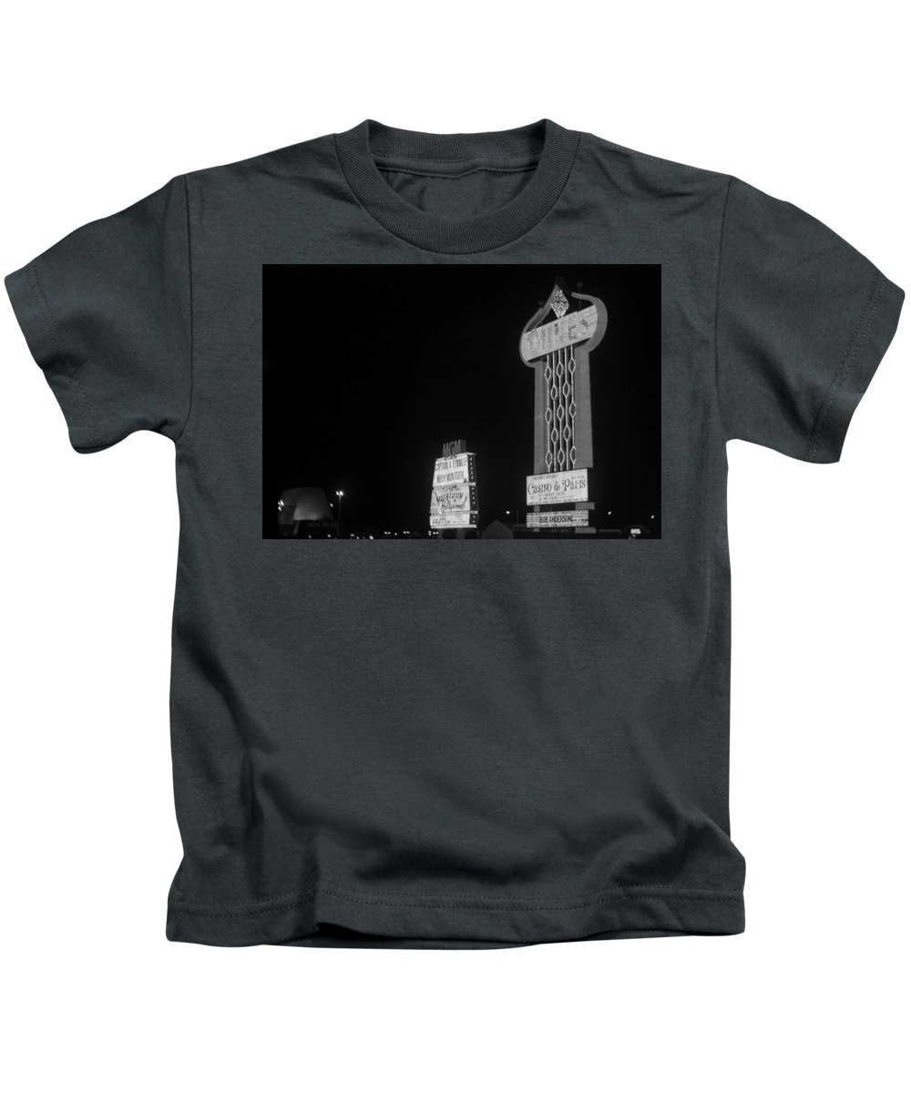 America Kids T-Shirt featuring the photograph Las Vegas 1980 Bw #7 by Frank Romeo