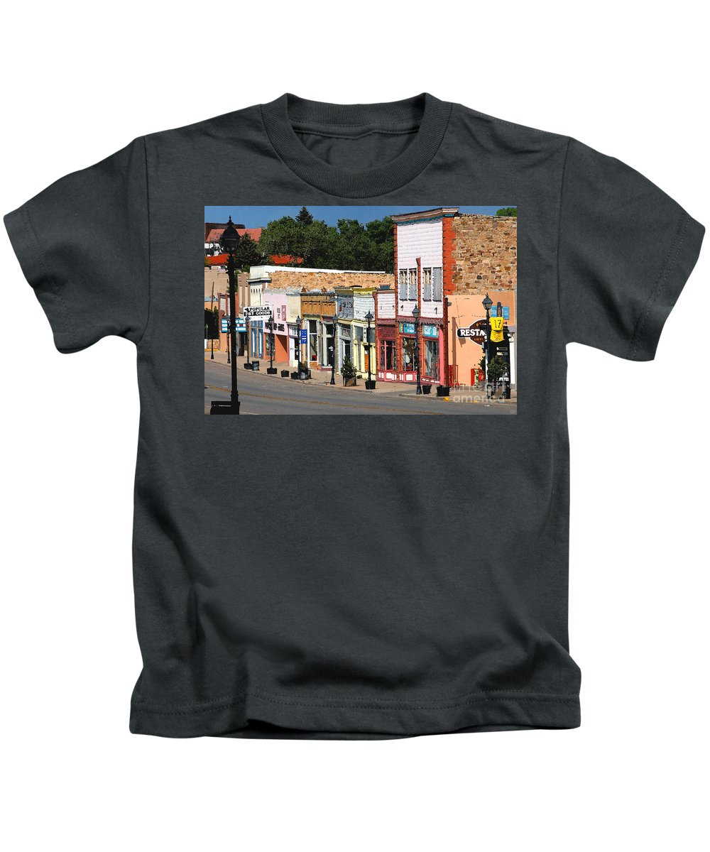 Las Vegas New Mexico Kids T-Shirt featuring the painting Las Vegas New Mexico by David Lee Thompson