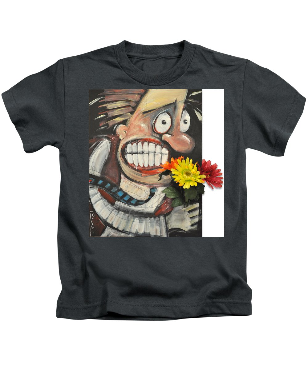 Flowers Kids T-Shirt featuring the painting Late For A Date by Tim Nyberg