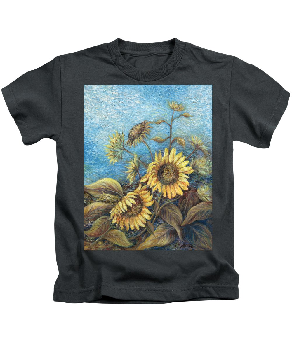 Sunflowers Kids T-Shirt featuring the painting Late Sunflowers by Valerie Meotti