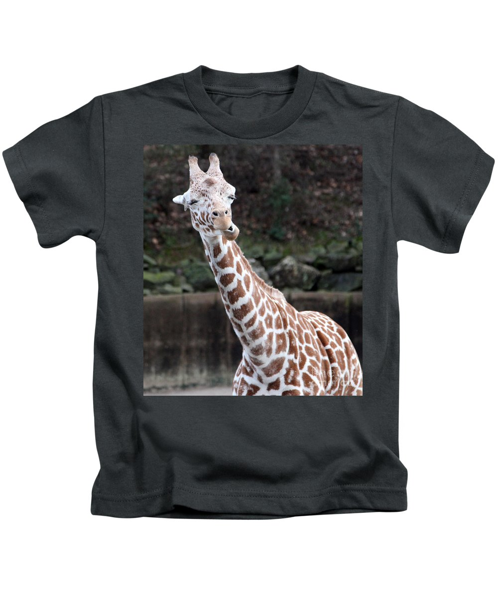 Laughing Giraffe Kids T-Shirt featuring the photograph Laughter by Amanda Barcon