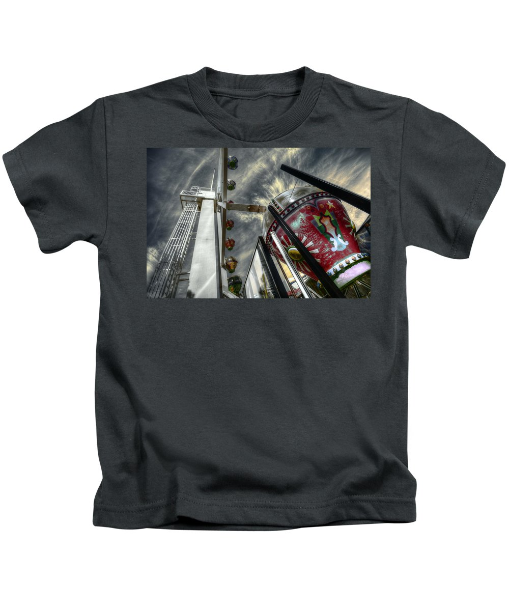Amusement Kids T-Shirt featuring the photograph Launch Pad by Wayne Sherriff