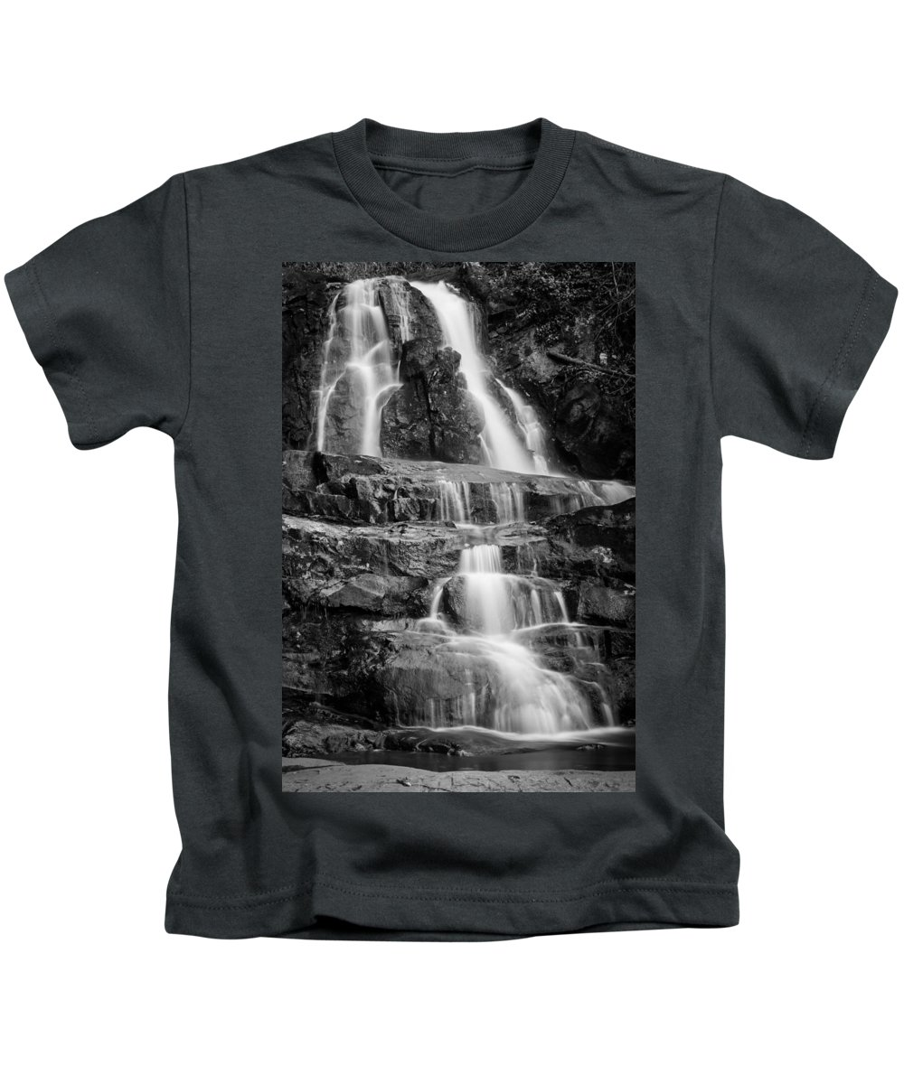Waterfalls Kids T-Shirt featuring the photograph Laurel Falls B And W 2 by George Kenhan