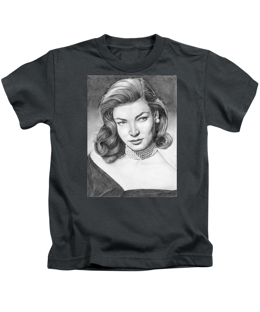 Actress Kids T-Shirt featuring the drawing Lauren Bacall by Rob De Vries