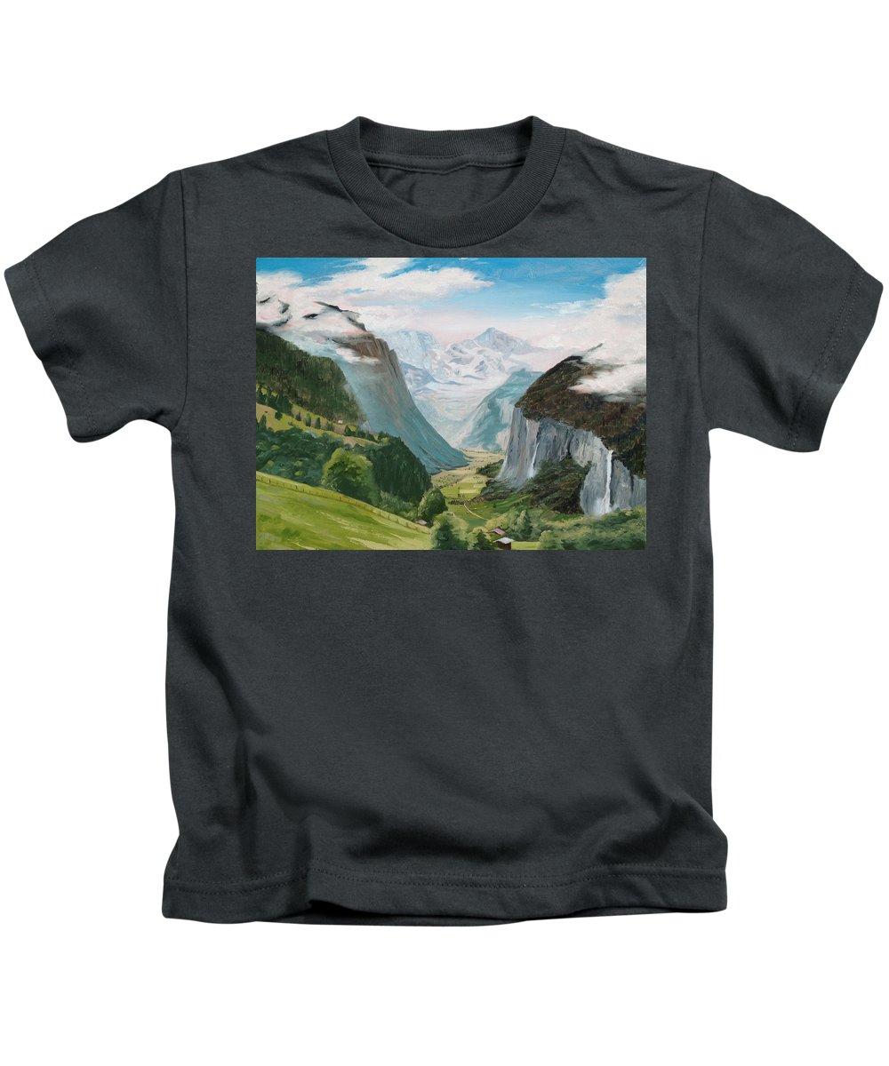 Switzerland Kids T-Shirt featuring the painting Lauterbrunnen Valley Switzerland by Jay Johnson