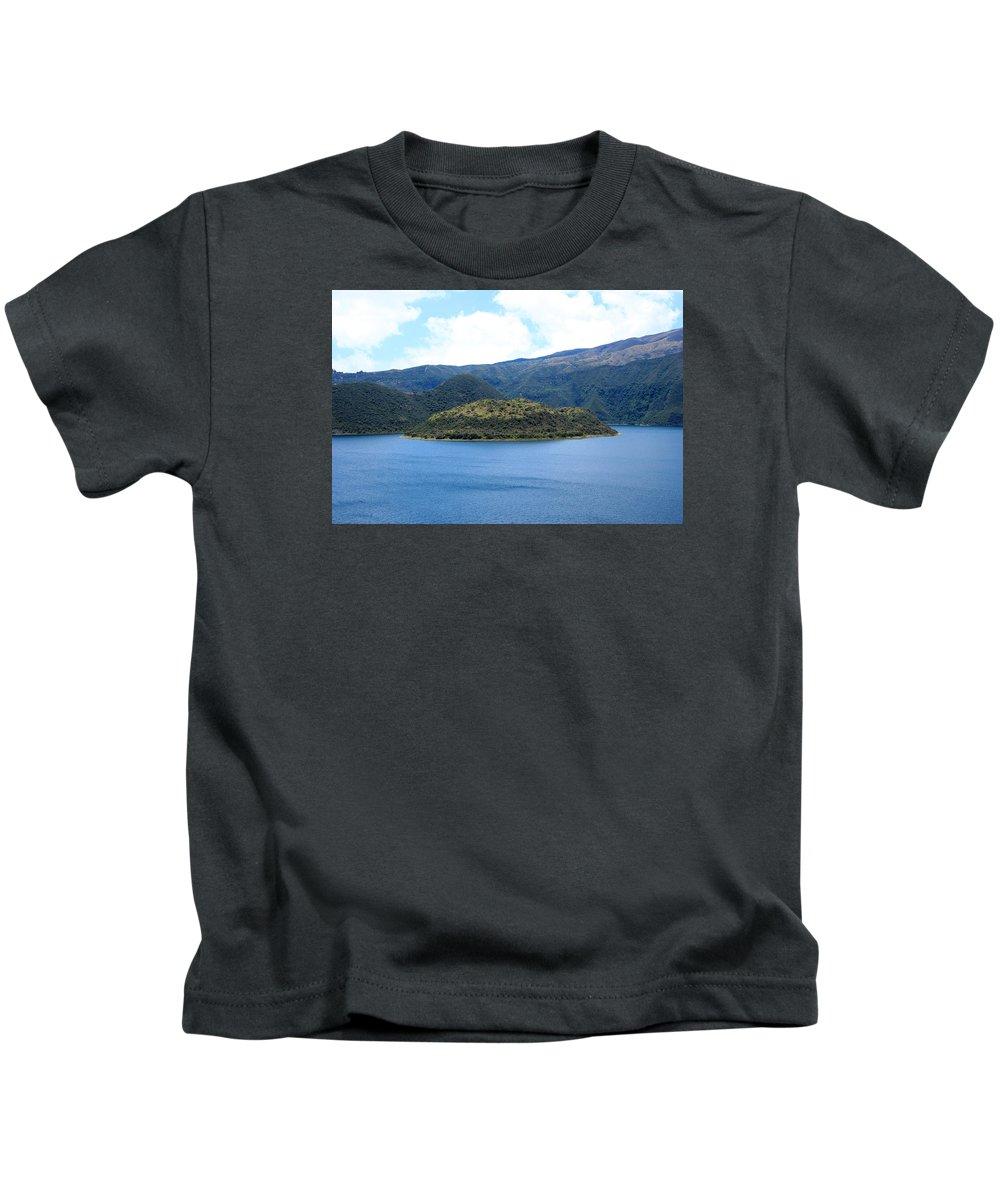Island Kids T-Shirt featuring the photograph Lava Dome Island In Lake Cuicocha by Robert Hamm