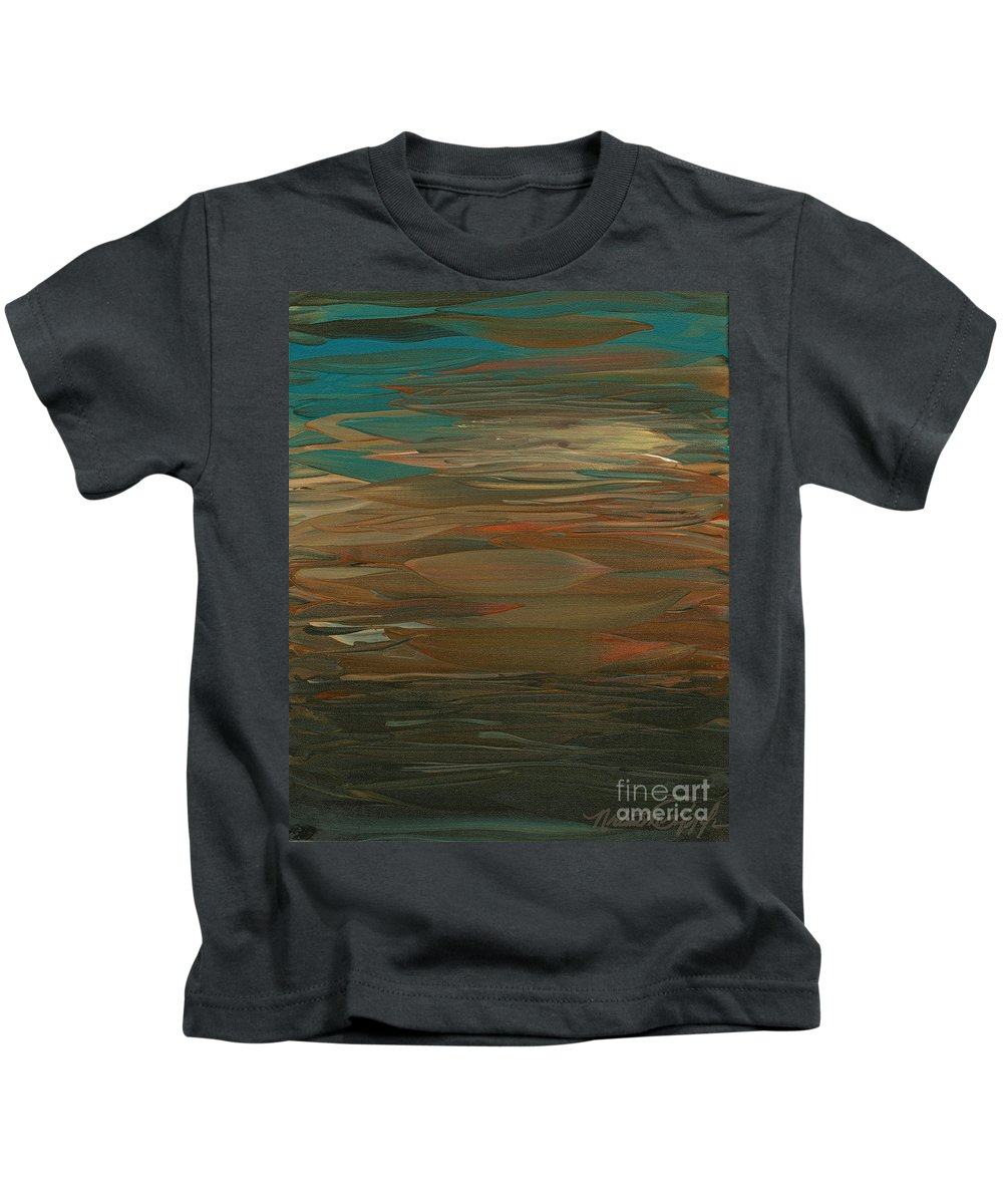 Sunset Kids T-Shirt featuring the painting Layered Teal Sunset by Nadine Rippelmeyer