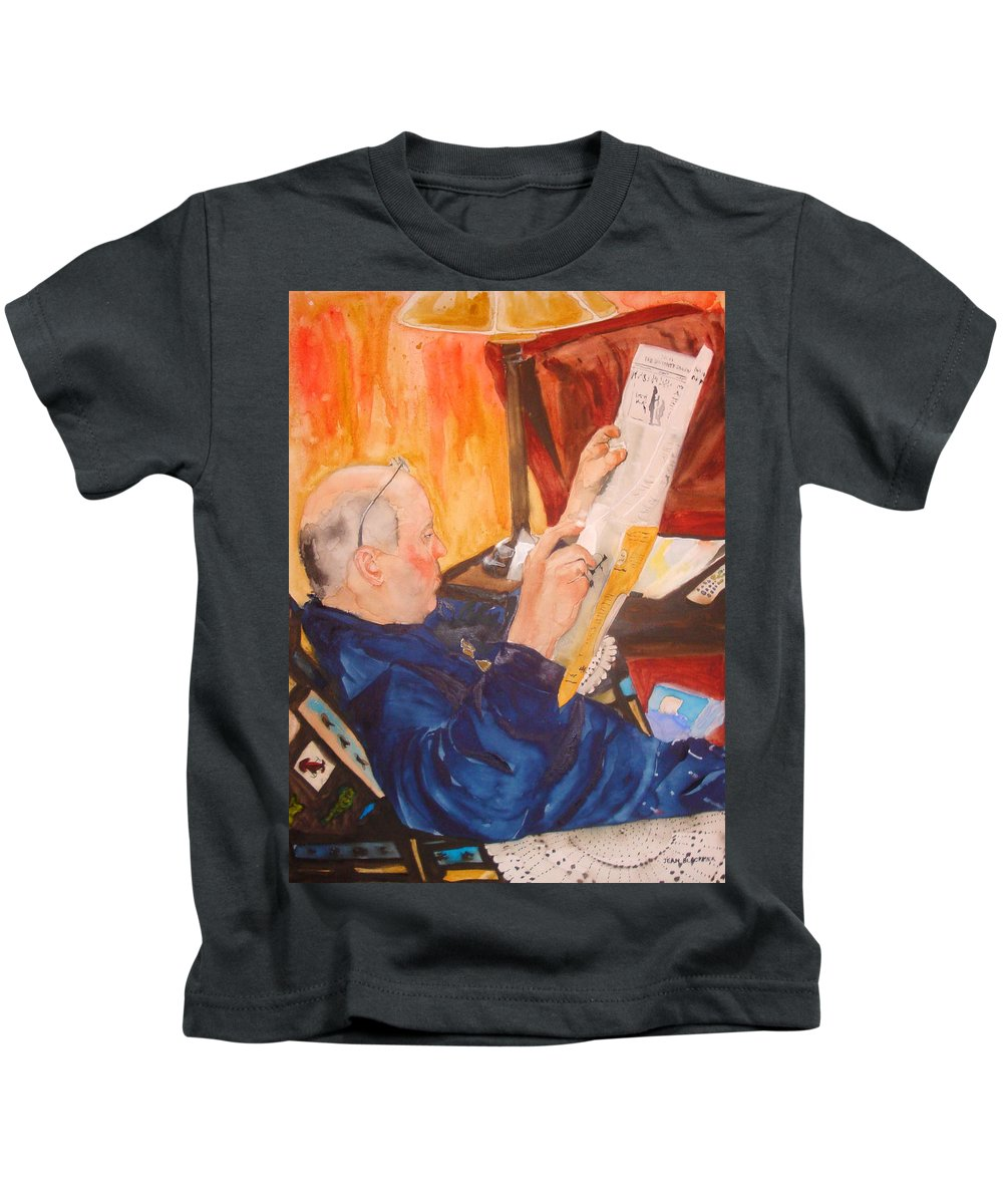 Portrait Kids T-Shirt featuring the painting Lazy Sunday Morning by Jean Blackmer