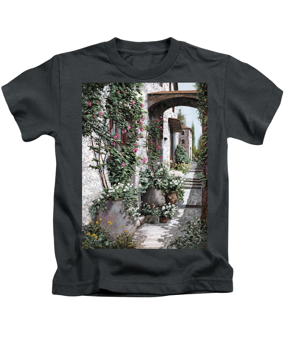Arch Kids T-Shirt featuring the painting Le Rose Rampicanti by Guido Borelli