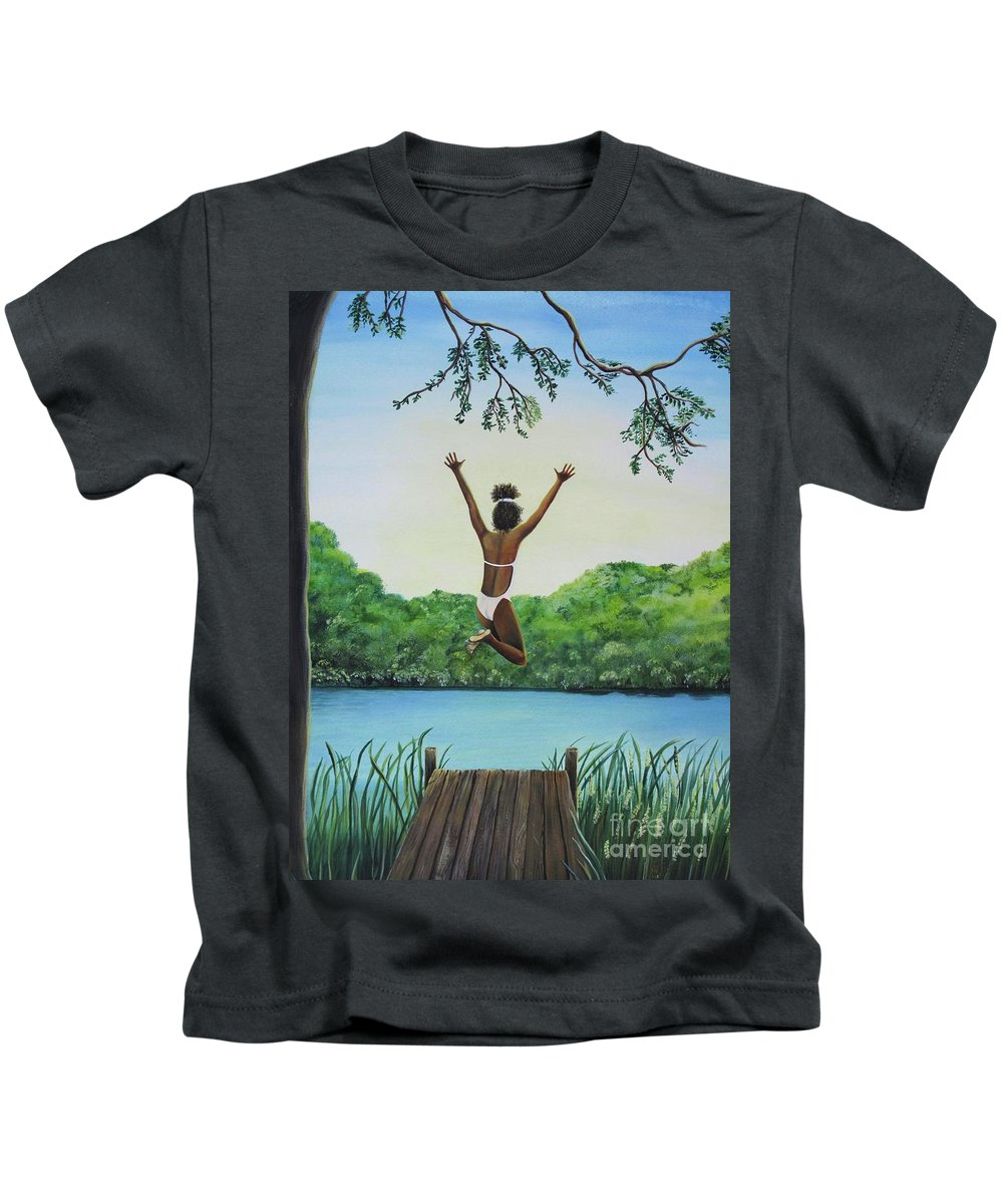Summer Vacation Kids T-Shirt featuring the painting Leap Of Faith by Kris Crollard