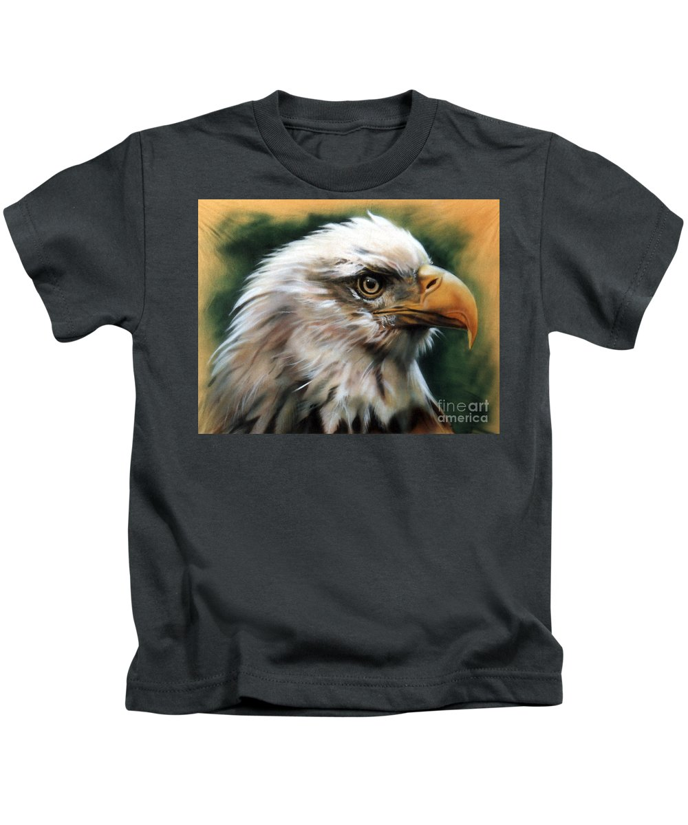 Southwest Art Kids T-Shirt featuring the painting Leather Eagle by J W Baker