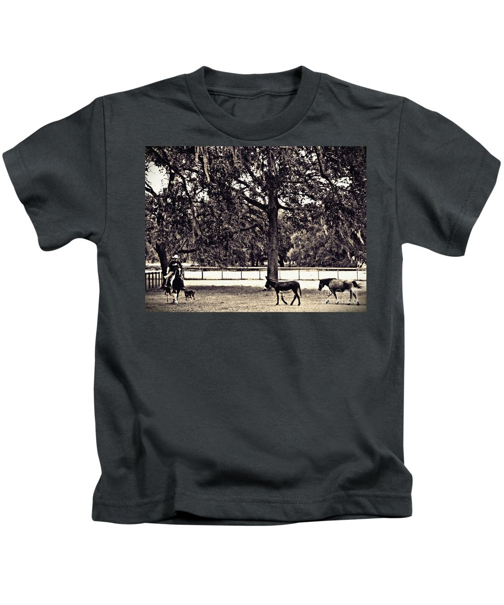 Ranch Kids T-Shirt featuring the photograph Lee's Ranch 2 Sepia by Sarah Loft