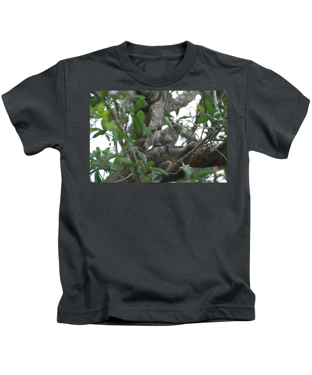 Squirrel Kids T-Shirt featuring the photograph Lending A Helping Hand by Rob Hans