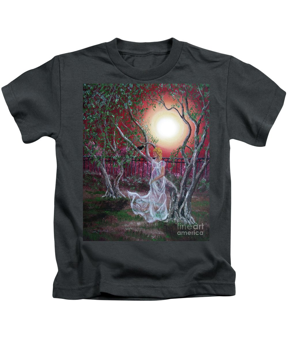 Supernatural Kids T-Shirt featuring the painting Lenore By An Olive Tree by Laura Iverson