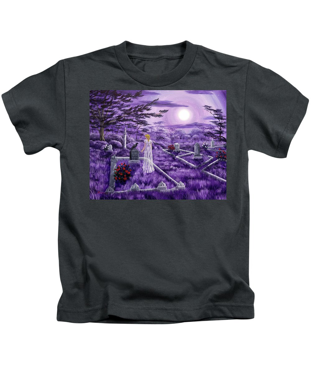 Moon Kids T-Shirt featuring the painting Lenore In Lavender Moonlight by Laura Iverson