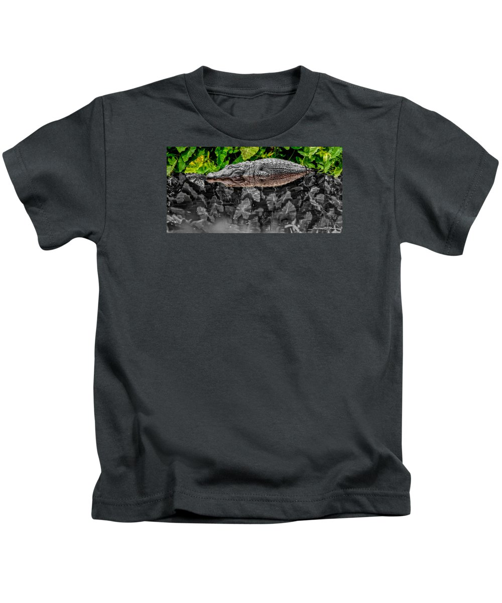 American Kids T-Shirt featuring the photograph Let Sleeping Gators Lie - Mod by Christopher Holmes