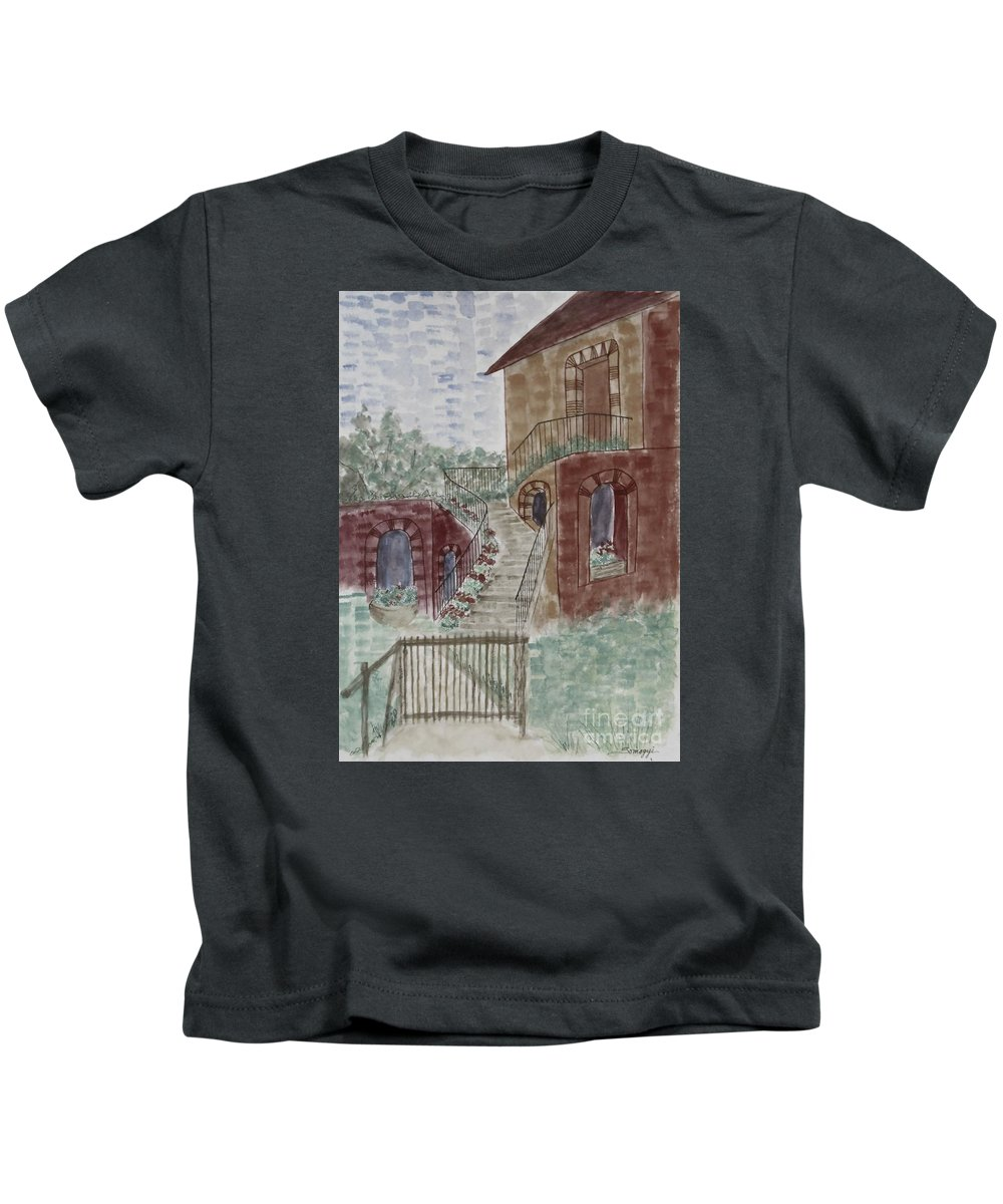 Architecture Kids T-Shirt featuring the painting Let Them Eat Dark Chocolate Cake by Jayne Somogy