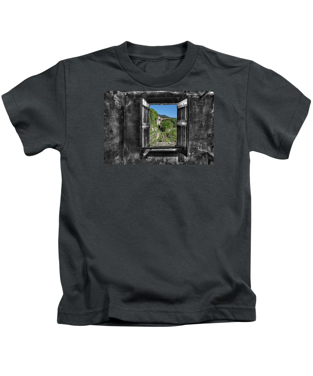Finestra Kids T-Shirt featuring the photograph Let's Open The Windows - Apriamo Le Finestre by Enrico Pelos