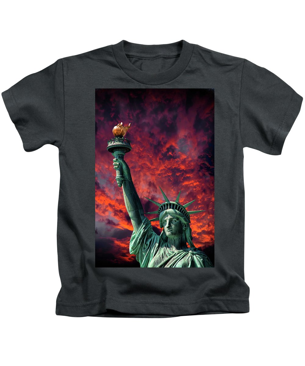 Liberty Kids T-Shirt featuring the photograph Liberty On Fire by Daniel Hagerman