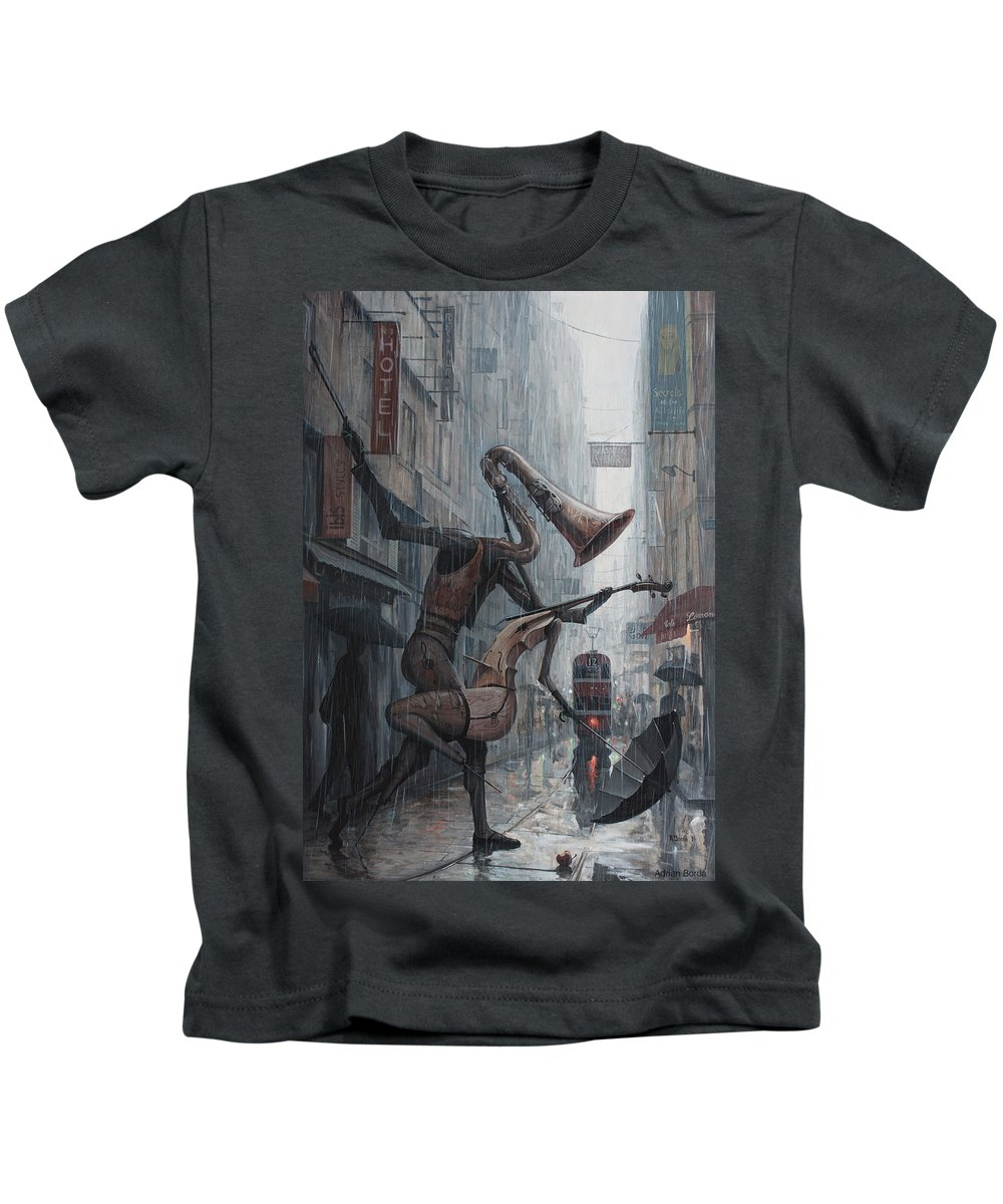 Life Kids T-Shirt featuring the painting Life Is Dance In The Rain by Adrian Borda
