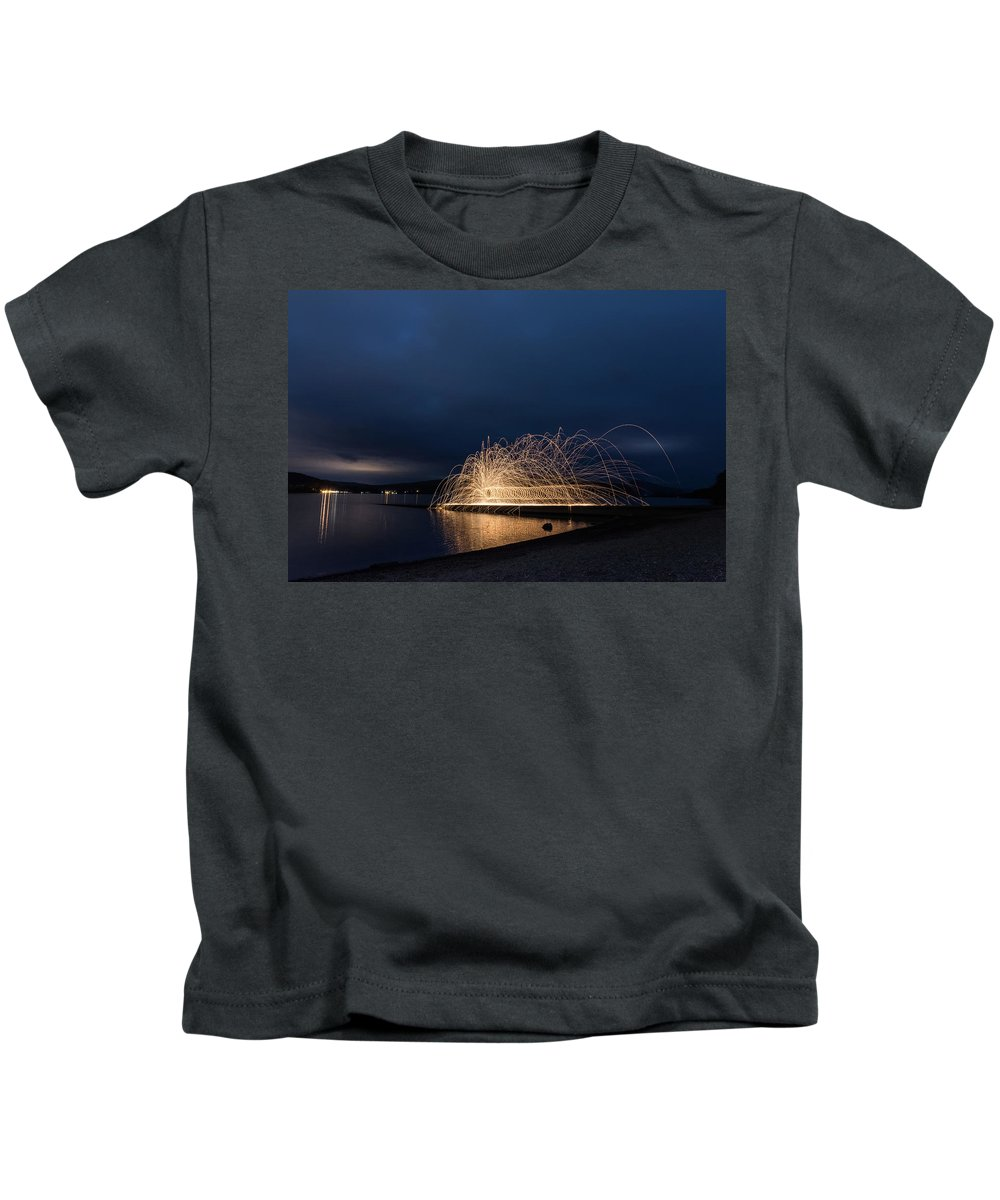 Architecture Kids T-Shirt featuring the digital art Light Painting by Gary Ellis
