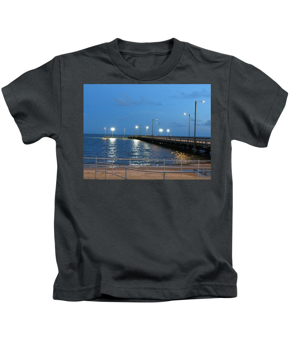 Pier Kids T-Shirt featuring the photograph Lighted Pier by Larry Linley
