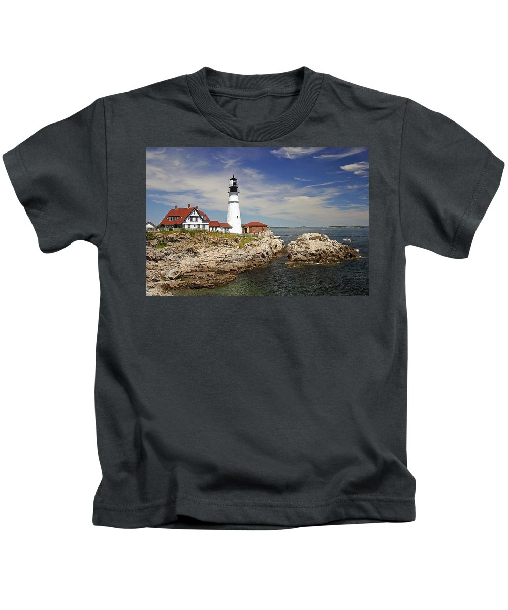 Lighthouse Kids T-Shirt featuring the digital art Lighthouse by Dorothy Binder
