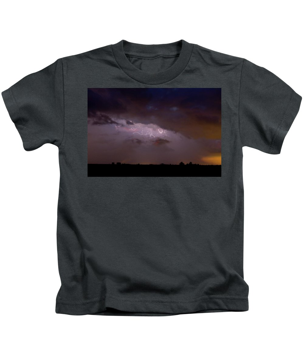Lightning Kids T-Shirt featuring the photograph Lightning In The Sky by James BO Insogna