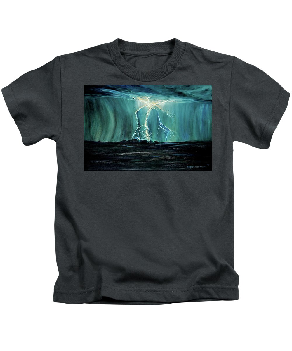 Lightning Kids T-Shirt featuring the painting Lightning On The Prairie by Jennifer Christenson