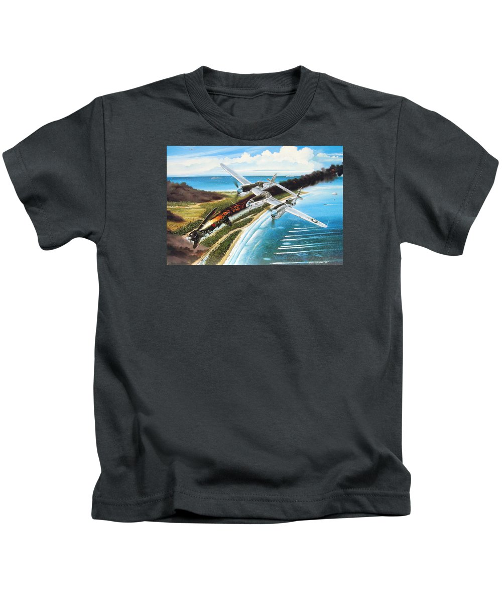 Aviation Kids T-Shirt featuring the painting Lightning Over Mindoro by Marc Stewart