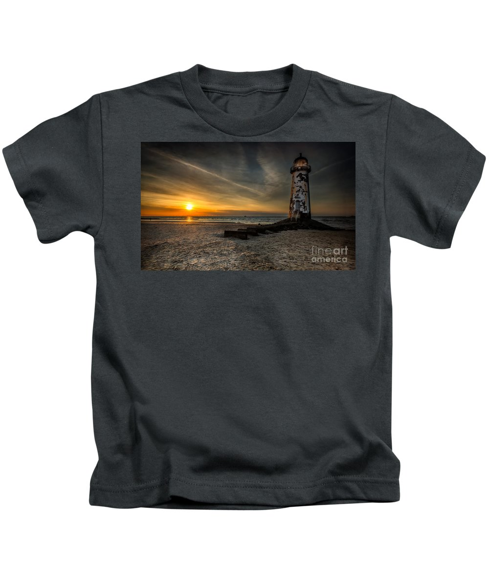 Lighthouse Sunset Kids T-Shirt featuring the photograph Lights Out by Adrian Evans