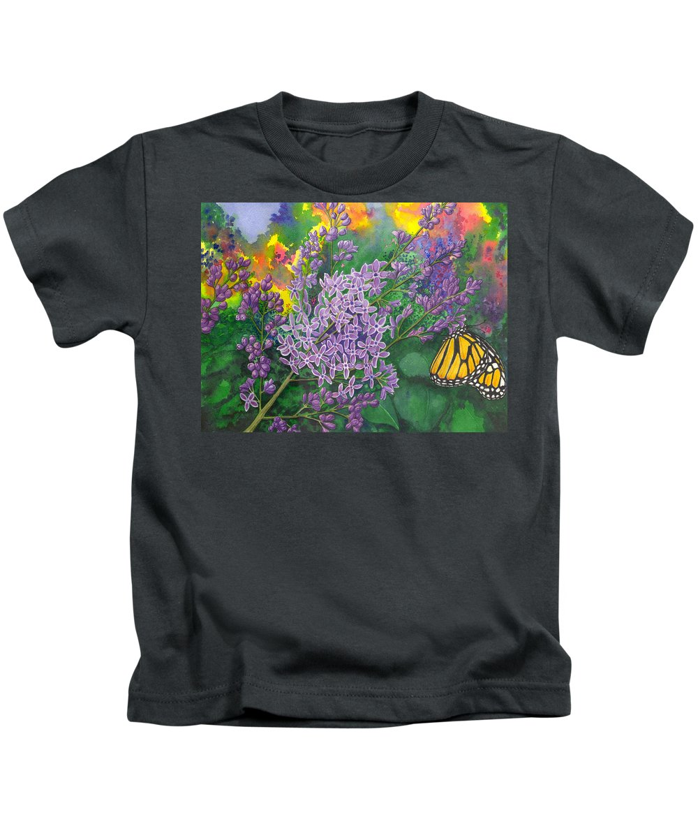 Lilac Kids T-Shirt featuring the painting Lilac by Catherine G McElroy