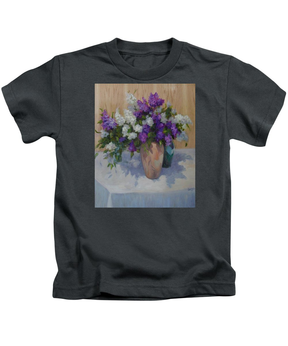 Lilacs Kids T-Shirt featuring the painting Lilacs by Patricia Kness