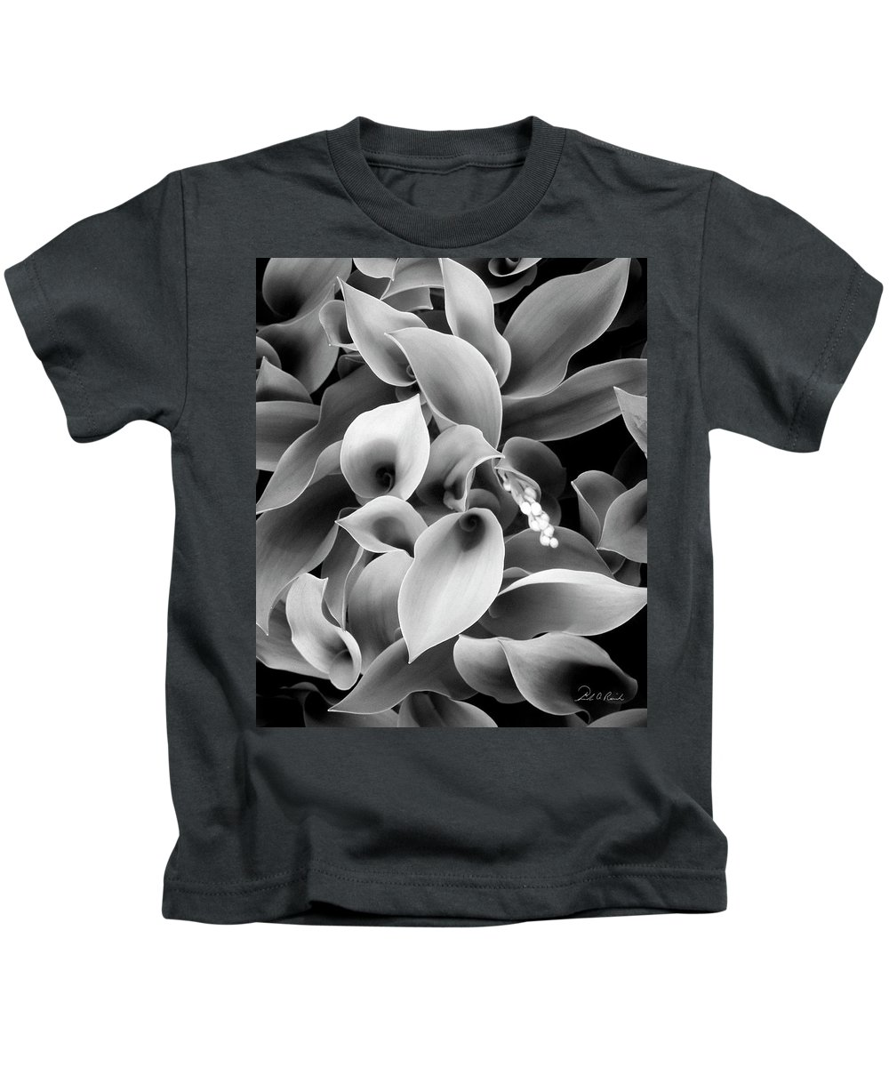 Black & White Kids T-Shirt featuring the photograph Lilies Of The Vallley by Frederic A Reinecke