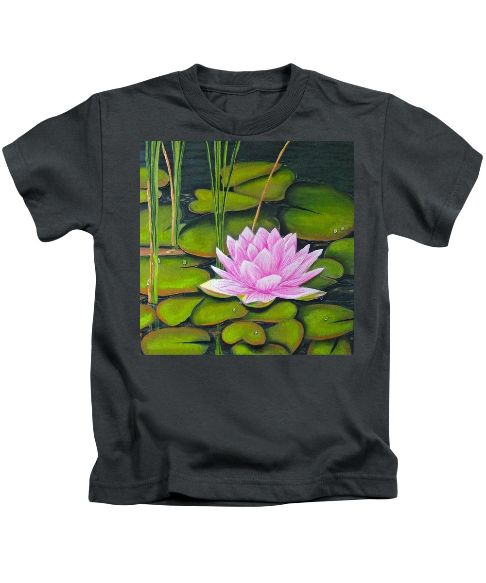 Lily Pond Kids T-Shirt featuring the painting Lily Pond And Pink by Dee House