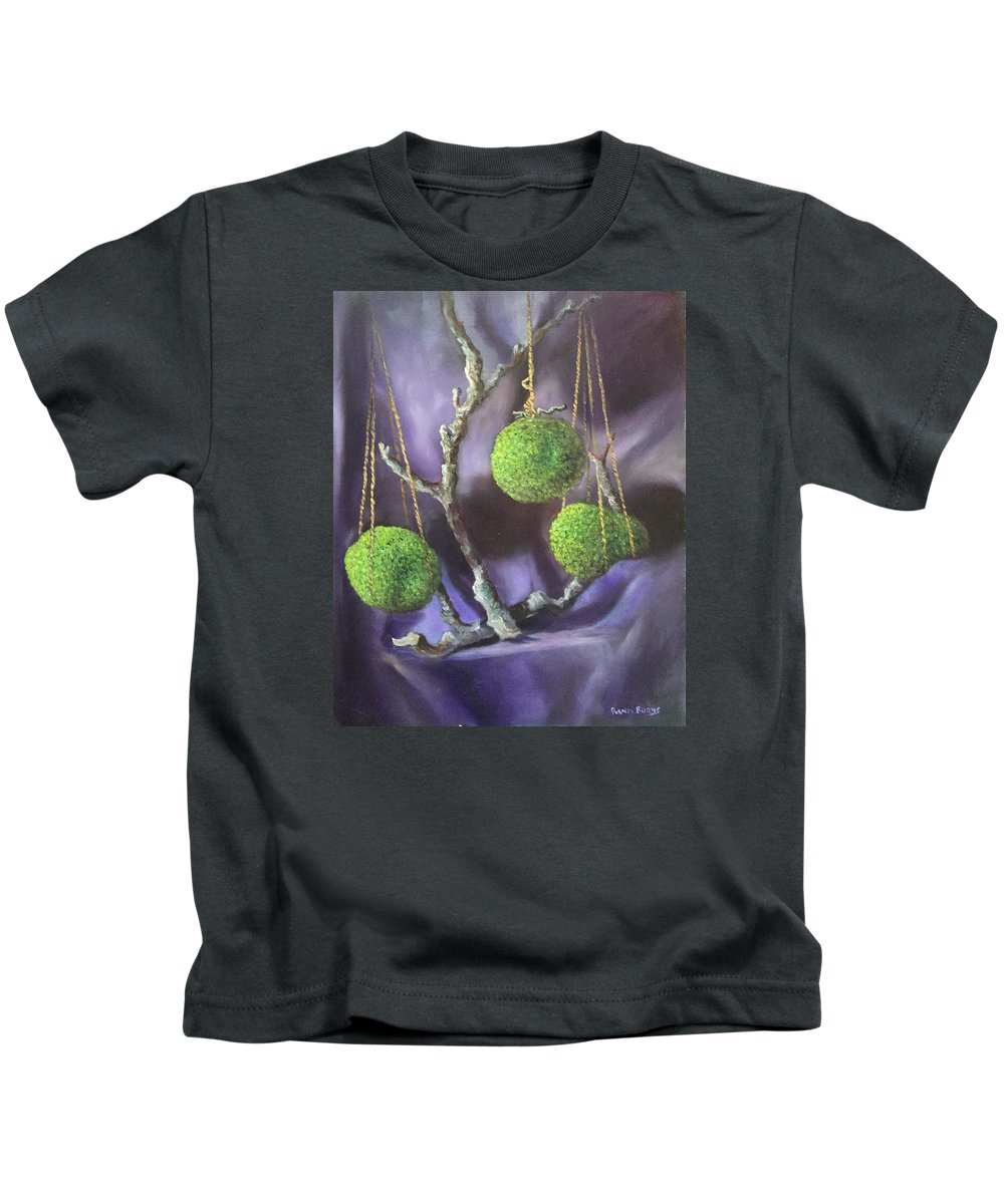Horseapples Kids T-Shirt featuring the painting Lime And Violet In Harmony by Randy Burns