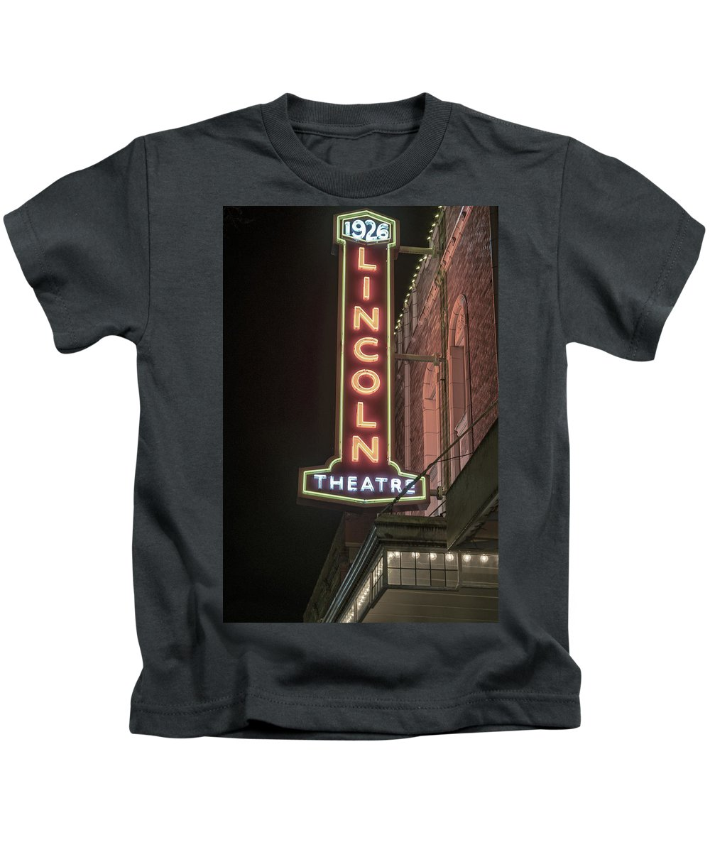 Signs Kids T-Shirt featuring the photograph Lincoln Theater Sign by Stephen Coletta