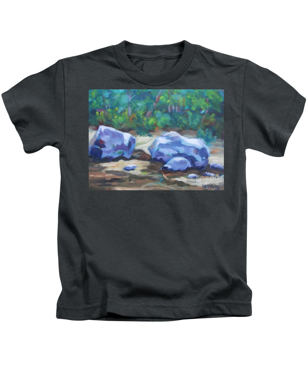 Expressionist Landscape Kids T-Shirt featuring the painting Lindenlure by Jan Bennicoff